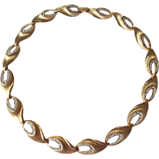 Kramer Rhinestone Necklace Vintage 1960s Signed Link Choker