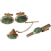 Mid Century Modern Anson Mens Jewelry Set Vintage 1950s Green Marbled Stones Signed
