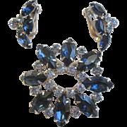 Cobalt Blue Rhinestone Brooch Earrings Vintage 1950s Demi Parure Jewelry Set