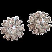Bogoff Rhinestone Earrings Vintage 1960s Signed Designer Petite Jewelry