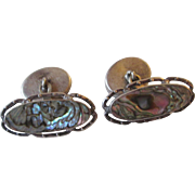 Sterling Antique Edwardian Cuff Links Abalone Shell Double Sided Unisex Jewelry Book Piece