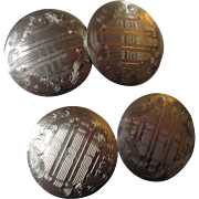 Antique Gold Etched Victorian Cuff Links 8k Early Century Estate Jewelry