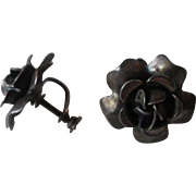Sterling Rose Earrings Vintage 1930s Screwback Flower Signed