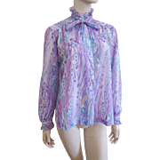 Sheer Lavender Blouse Vintage 1960s Ruffles Pussycat Bow Teddi of California