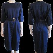 Deadstock Wiggle Dress Vintage 1980s Lady Carol Navy Blue Belt NWT