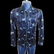 Mens Disco Shirt Vintage 1970s Blue Polyester Groovy Retro Design Skinny Fit Clubwear