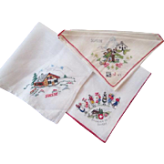 Swiss Hankies Souvenir Embroidery Vintage 1950s Alba NWT Suisse Lot 3