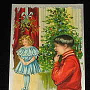 SALE Antique Embossed Postcard-Young Girl Under Mistletoe w/Young Boy Looking On-Xmas Tree ...