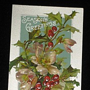 "SALE Antique Embossed Postcard-Holly, Berries & Pink Flowers-""Merry Christmas Series 403"""