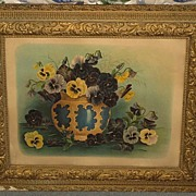 SALE 1897 Gesso Framed Chromo Print - Jardinière of Pansies