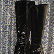 Vintage Knee High Black Patent Leather Italian Boots by Barbara-Size 40 1/2 (fits 9-9 ½)