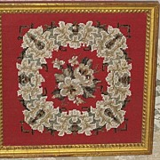 SALE Gorgeous  1800's Antique Victorian Framed Beadwork Needlepoint Picture