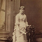 Dated 1880 Cabinet Card of Beautifully Dressed Girl Holding her High School Diploma-Eastlake Furniture