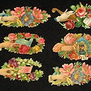 Six Victorian Embossed Die Cuts with Hands, Roses & Phrases from 1886 Scrapbook