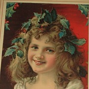 SALE Gorgeous Antique Vintage Framed Christmas Girl w/Holly/Berries Litho with Metropolitan Li