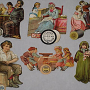 SOLD Six Victorian Cut-Out Scraps Advertising Thread Co.'s-Most with Children & Taken from 1