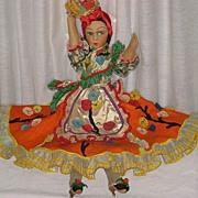 "SALE 1930's Tagged Joao Perotti Bahia/Chiquita Banana Lady Felt Boudoir Doll-24"" Tall"