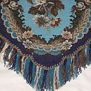 SOLD Stunning Large Antique All Beadwork Fireplace Screen Panel with Fringe-Turquoise Floral w