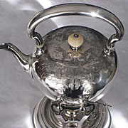 Large 19th Century Silver Plate Tilt Tea Pot with Heavy Engraving by Wilcox Silver Plate Co.-3 Pieces
