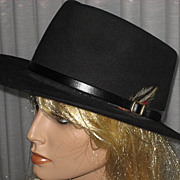 SALE 1980's Black Fur Cowboy Style Hat by Koala Blue-Olivia Newton-John's former Boutique