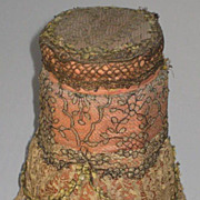 Large Dated 1914 Talc Powder Jar Covered in Lace w/Gold Metallic & French Ribbon Rosette ...