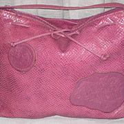SALE C. 80's Carlos Falchi Muted Raspberry Snakeskin Shoulder Purse-Never Used w/Tag