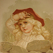 Dated 1889 Chromolithograph of Beautiful Young Girl Crying with her Hand on her Head-5 of 9