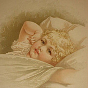 Dated 1889 Chromolithograph of Young Blonde Child in Bed with her Hand on her Cheek-7 of 9