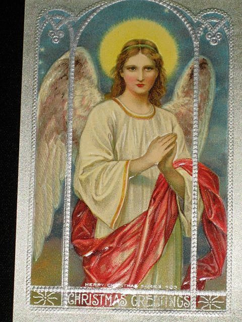 """Antique Embossed Postcard-Large Winged Angel Behind Arched Glass Window-""""Merry Christmas Series 403-Unused"""