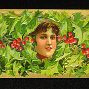 """Antique Embossed Postcard-Young Lady Peeking Out of Holly & Berries-""""Merry Christmas Series 403""""-Unused"""
