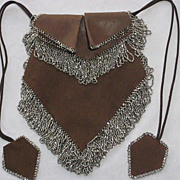 Gorgeous 1920's Brown Leather & Suede Purse with Tons of Steel Beaded Fringe