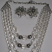 Vintage Clear Multi Faceted Beaded & Rhinestone Roundels Four Strand Necklace & Earrings