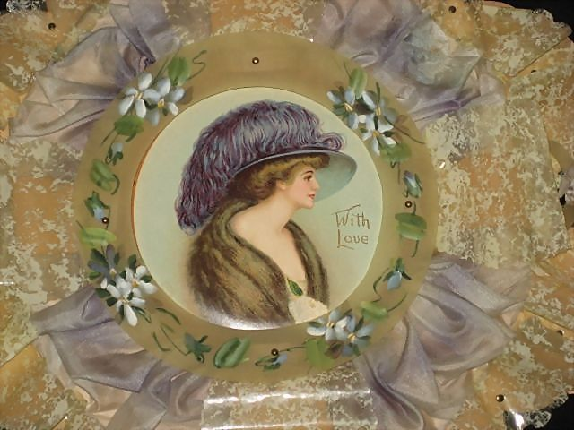 Large Dated 1910 Hand Painted Celluloid & Silk Valentine's Day Card with Beautiful Woman Litho in Center