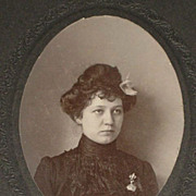 SALE PENDING Antique Cabinet Card of Beautifully Dress Young Woman with Fleur de Lys Brooch-Mo