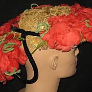 Unusual 30's-40's Delle Donne Raffia Straw Hat w/Organdy Poppies & Back Velvet Ring w/Poppies