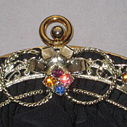 Stunning Vintage Guild Creations Navy Rayon Crepe Purse with Ornate Rhinestone Ornamentation-N