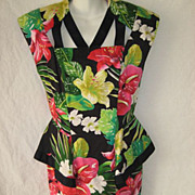 Gorgeous 1980's Black Cotton Floral Dress with Peplum, Unusual Neckline & Back-By Barbara Barbara-Approx. Sz 8