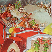 SOLD 1908 Embossed Postcard of Santa Driving Car with Dolls, Toys-Unused