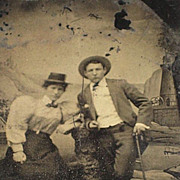 SALE PENDING Antique Victorian Tin Type with Woman with Crippled Man with Cane