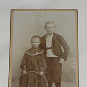 SALE PENDING Antique Victorian Small Cabinet Card-Young Man & Young Girl with Hula Hoop Type T
