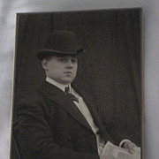 SALE PENDING Antique Victorian Cabinet Card of Well Dressed Man with Hat holding a Decorative