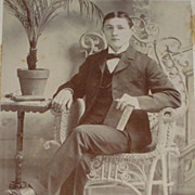 SALE PENDING Antique Victorian Cabinet Card of Well Dressed Young Man Sitting in Wicker Chair
