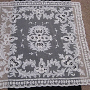 SALE 1930's Creamy White Tambour Net Lace Table Topper w/Organdy Insets-1 of 2
