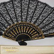 Beautiful Antique Black Lace Fan w/Hand Sewn Sequins in Original Box