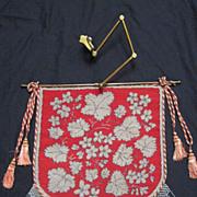 SALE RARE Antique Beadwork Needlepoint Fire Screen w/Original Bar & Adjustable Brass Mount