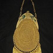 Vintage Carved Celluloid Frame Purse w/Hand Crochet Body &    Long Fringe