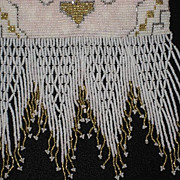SALE Made in France 30's Seed Pearl & Steel Beaded Purse with Beaded Fringe