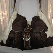 1980's Carlos Falchi Brown/White Calf Hair Travel Shoulder Bag w/Leather Detail-Unused
