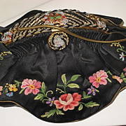SOLD 1940's Black Silk Satin French Purse w/Tambour Embroidered Flowers & Beaded Enameled Fram