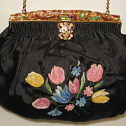SOLD 1940's Black Silk Satin Purse with Tambour Embroidered Tulips & Lacy Enamel Frame